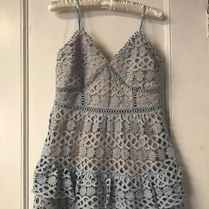 Just Me Blue and Beige Lace Dress